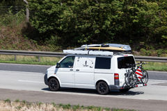Volkswagen T5 van on the highway Stock Photo