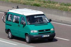 Volkswagen T4 Reimo camping van on the highway Royalty Free Stock Photos