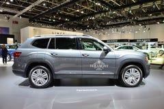 The Volkswagen Teramont car is on Dubai Motor Show 2017 Royalty Free Stock Photos