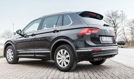 Volkswagen Tiguan, 4x4 R-Line 2017. Hamburg, Germany - February 10, 2017: Outdoor photo of second generation Volkswagen Tiguan, 4x4 R-Line. Black compact Royalty Free Stock Images