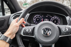 Volkswagen Tiguan 2017 steering wheel Stock Photos