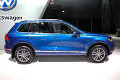 A Volkswagen Touareg at the 2016 New York International Auto Show. NEW YORK - MARCH 23: A Volkswagen Touareg at the 2016 New York International Auto Show during Royalty Free Stock Image