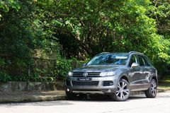 Volkswagen Touareg SUV test drive in Hong Kong Stock Images