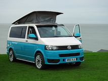 Volkswagen touring club coastal. Photo of a modern volkswagen on display at whitstable outdoor rally by tankerton slopes in kent april 15th 2018 stock photos