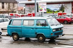 Volkswagen Transporter. Annecy, France - March 14, 2019: Old passenger van Volkswagen Transporter in the city street royalty free stock photo