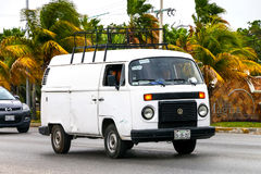Volkswagen Transporter. CANCUN, MEXICO - JUNE 3, 2017: Old van Volkswagen Transporter in the city street stock image