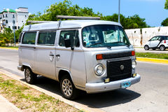 Volkswagen Transporter. CANCUN, MEXICO - MAY 16, 2017: Passenger van Volkswagen Transporter in the city street stock images