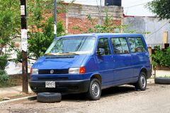 Volkswagen Transporter. Oaxaca, Mexico - May 25, 2017: Old passenger van Volkswagen Transporter in the town street royalty free stock photos