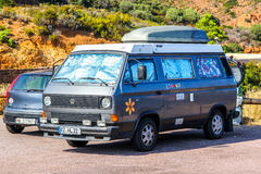 Volkswagen Transporter. RIVIERA, FRANCE - AUGUST 3, 2014: German classic campervan Volkswagen Transporter at the sea coast in the French Riviera royalty free stock image