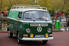 Volkswagen Transporter T1 Deluxe Samba. 1964 parked at vintage cars parade in Bucharest, Romania Royalty Free Stock Photo