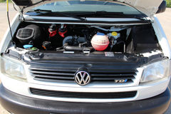 Volkswagen transporter T4 engine 2001 white Stock Images