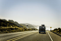 Volkswagen van. Oregon coast driving royalty free stock images
