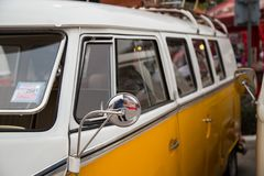 Volkswagen van owners club meeting in Thailand. Nonthaburi, Thailand - March 10, 2018: VW van microbus window show in volkswagen club meeting at car park of stock images