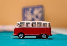 Volkswagen Van Samba toy. Bus from the side on a table in soft focus on circa January 2018 in Poznan, Poland Stock Image