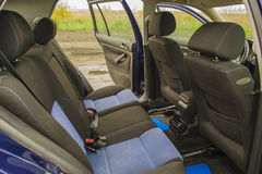 Volkswagen vw golf 4 back seats. Blue volkswagen golf 4 from the inside - back seats Stock Photos