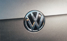 Volkswagen VW logotype on a gray silver car Royalty Free Stock Photos