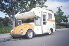 A Volkswagon bug converted to a camper, Royalty Free Stock Image