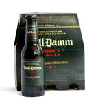 Voll-Damm Doble Malta on white. Mallorca, Spain - April 20, 2016: Voll-Damm Doble Malta is a lager and Märzen or Märzenbier-style beer manufactured by S.A Royalty Free Stock Photo