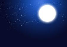 Voll glühen - Mond und Sterne Stockbilder