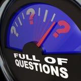 Voll von der Fragen-Tankanzeige, die um Antworten bittet lizenzfreie abbildung