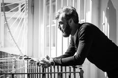 Vollbartmann ist in der Terrasse entspannend Stockbilder