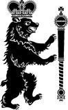 Volle Höhe des heraldischen Bären Lizenzfreie Stockfotos