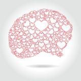 Volle Herzen des menschlichen Gehirns - Liebesdenken, Lizenzfreie Stockbilder