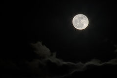 Volle maan boven wolken Royalty-vrije Stock Foto