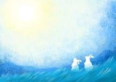 Volle maan in de duidelijke hemel met konijntjeskonijnen Royalty-vrije Stock Foto