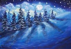 Volle maan die boven het de winterbos toenemen die met verse sneeuw wordt behandeld Fantastisch helder melkachtig manier originee royalty-vrije illustratie