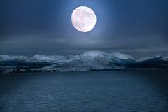 Volle maan die op Yellowstone-Meer bij het Nationale Park van Yellowstone glanzen Royalty-vrije Stock Foto