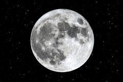 Volle maan die over de horizonsterren toenemen Royalty-vrije Stock Afbeelding