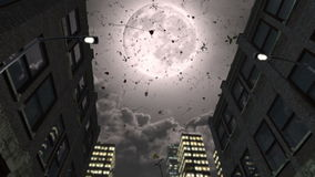 Volle maan en dalende romantische rozen vector illustratie