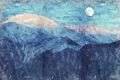 Volle maan en sneeuwberg, India Digitaal Art Impasto Oil Pain stock foto