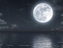 Volle maan het toenemen en lege oceaan bij nacht stock illustratie