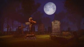 Volle maan hierboven verlaten kerkhof Stock Afbeelding