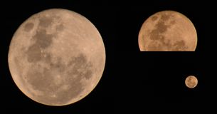 Volle maan maanverduistering stock afbeelding