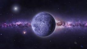 Volle maan met een starfield en Melkweg als achtergrond vector illustratie