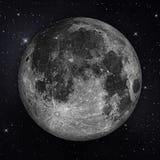 Volle maan met sterren in de nachthemel Royalty-vrije Stock Afbeeldingen