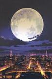 Volle maan over de horizon van de nachtstad met kleurrijk licht royalty-vrije illustratie