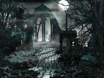 Volle maan over de ruïnes van de Tempel Stock Foto