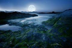 Volle maan over het strand stock foto