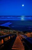 Volle maan over New Port Beach Stock Foto