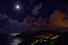Volle maannacht in Sai Kung Stock Foto's