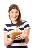 Volle Mappe-glückliche Frau Stockfoto