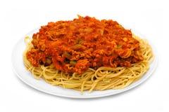 Spaghetti- und Fleischsoße Lizenzfreies Stockfoto