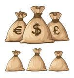 Volle Säcke der Karikatur mit Geld Lizenzfreies Stockbild