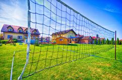 Volleyball net in the backyard Royalty Free Stock Photos