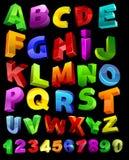 Volledig alfabet met cijfers Stock Fotografie
