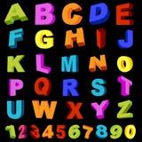 Volledig alfabet met cijfers Stock Foto